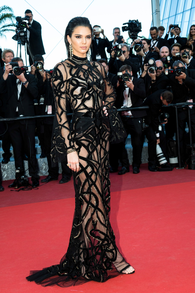 Kendall Jenner in a black floor length gown