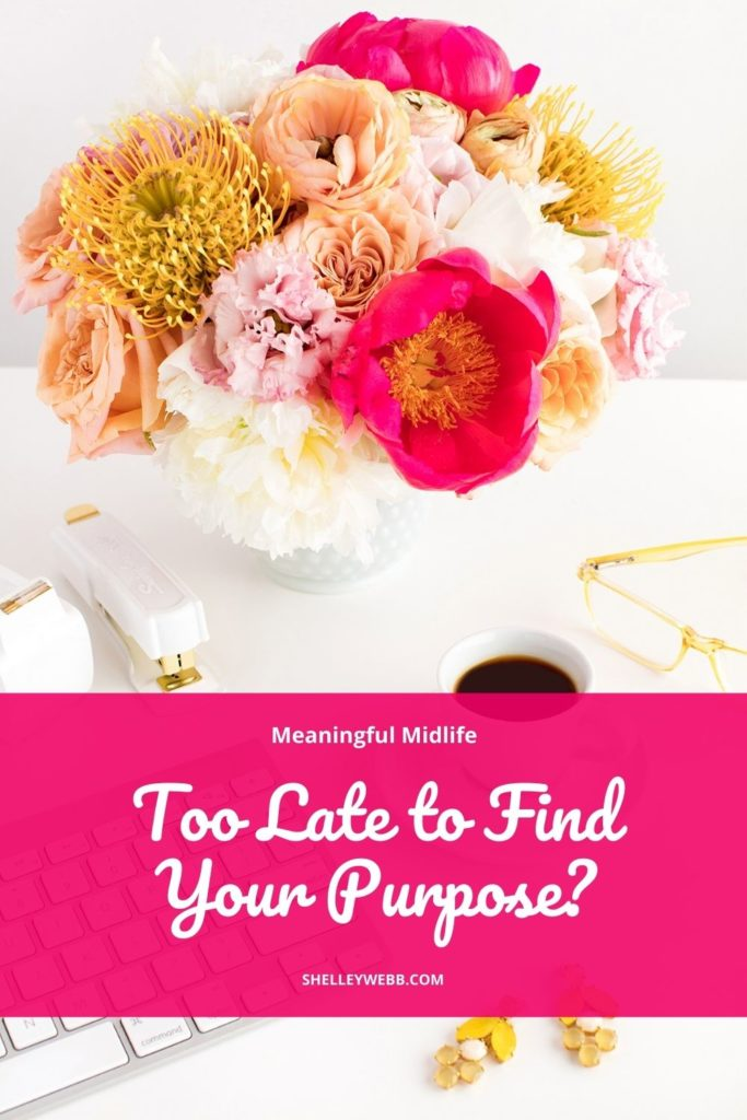 An image for Pinterest that says Too Late to Find Purpose?
